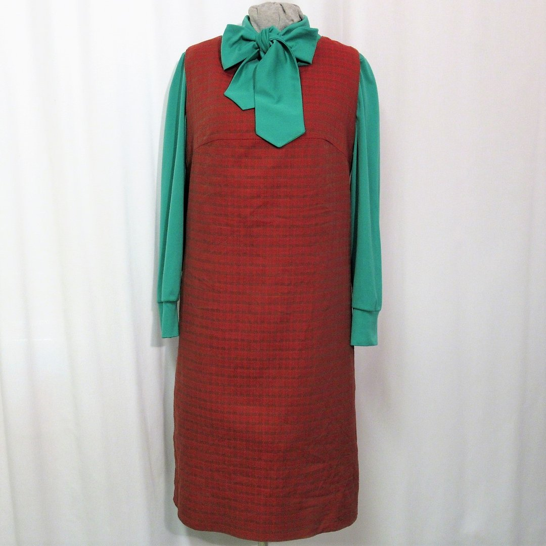 Brick red pinafore dress from 1960's, size L