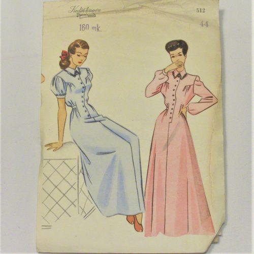 50 luvun Kodin kaava 740, 2 x mekko, koot 38, 40, 42